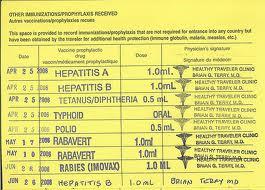 Immunization card | Rupert & Fanny's Big Bike Trip