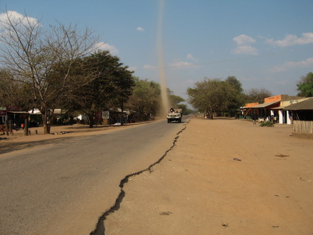 Dust devil on road