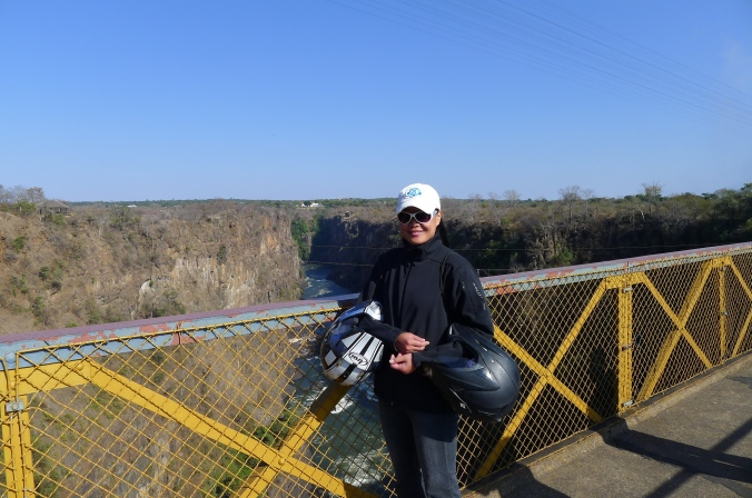 Fanny on bridge between Zimbabwe and Zambia