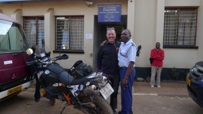 A Malawian policeman and I in Lilongwe