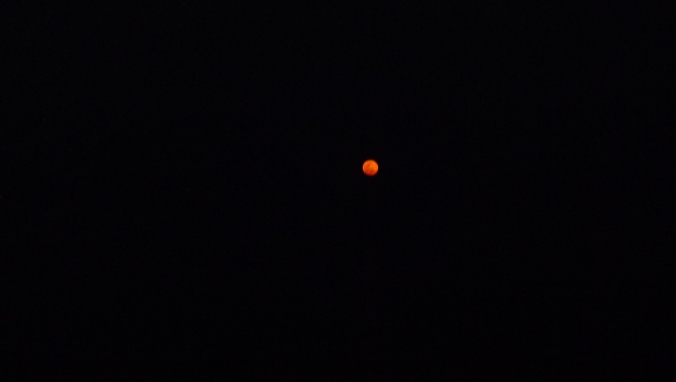 A red moon rising over Lake Nyasa