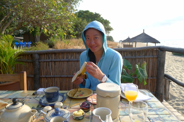 Superb breakfasts on the beach. Awesome coffee throughout Africa.