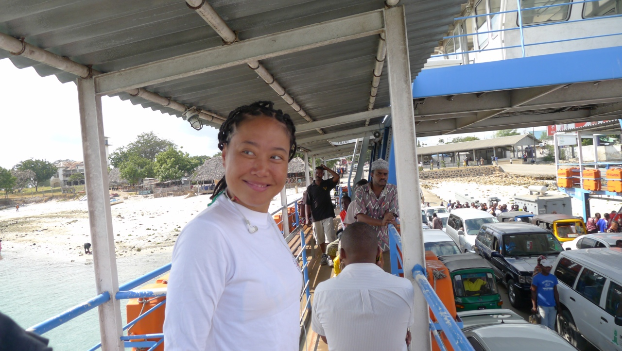 Fanny on the ferry boat to Kipepeo