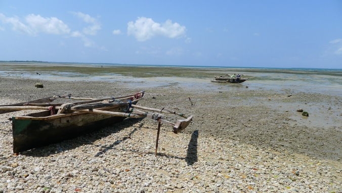 Local dugouts on the beach in Tanga