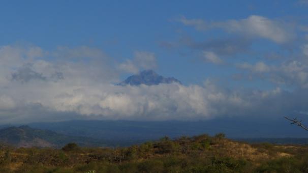 Mount Meru with Kilimanjaro behind