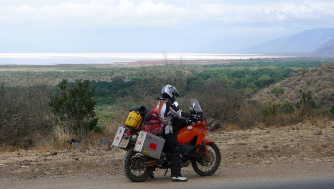 Fanny on slopes of Ngorogoro Crater with Lake Manyara in distance