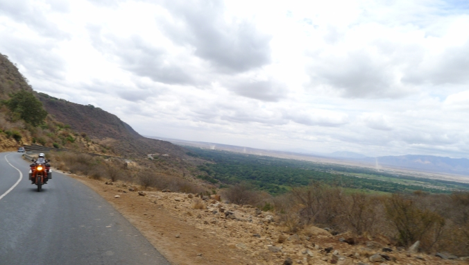 Fanny riding up the outer crater road at Ngorogoro