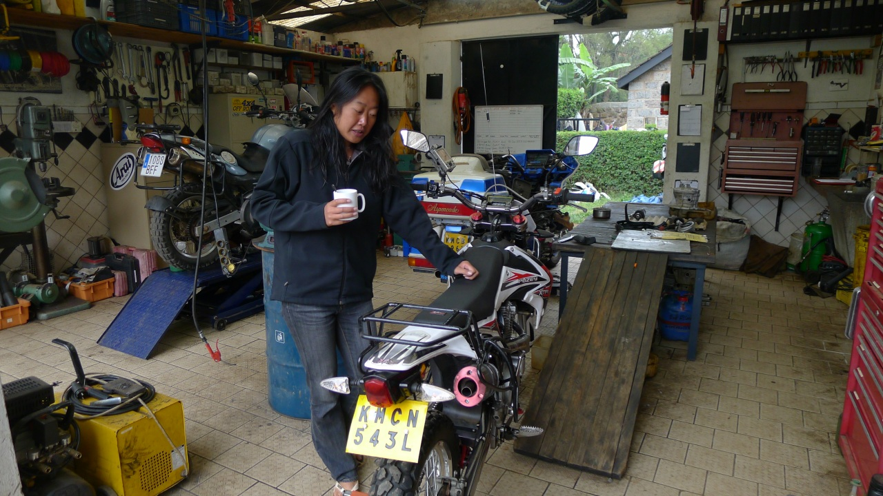 Looking at the bikes in the Jungle Junction workshop