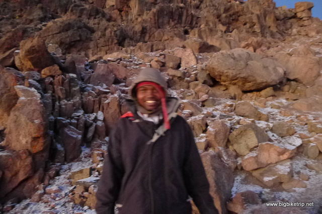 Stephen .. my racing snake guide up to the top of Mount Kenya