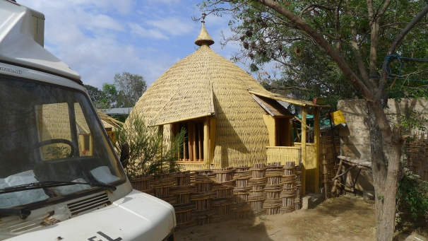 Our hut for an evening... come complete with lots of little friends