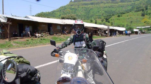 Meeting fellow bikers in Ethiopia