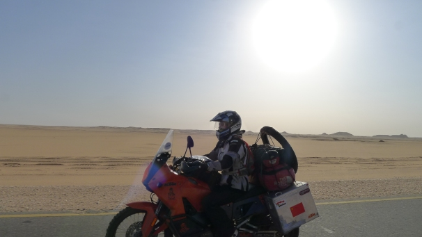 Fanny cruising through the Nubian desert under the hot sun.