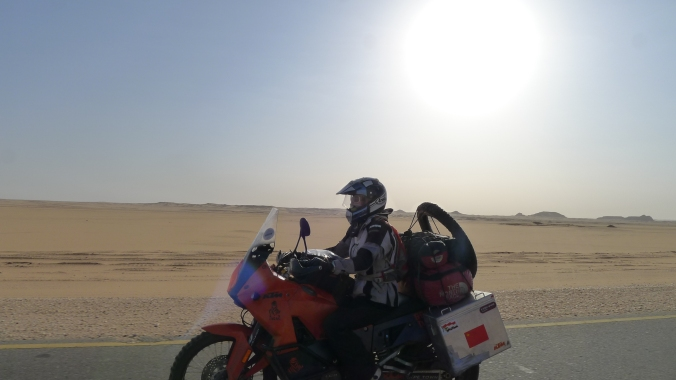 Fanny cruising through the Nubian desert under the hot sun.