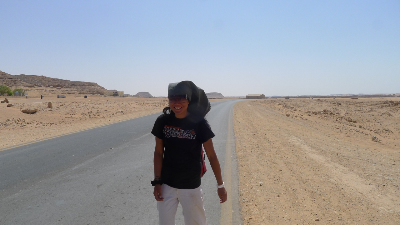 A bit hot walking back to town. Trouser legs make good sun hats