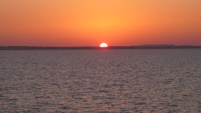 Sun sets on Lake Nasser at Sudan/Egypt border