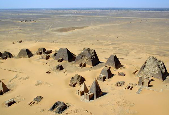 Nubian pyramids are pyramids that were built by the rulers of the Kushite (centered around Napata and Meroe) and Egyptian kingdoms. Prior to the Kushites building these pyramids (which are located in modern day Sudan), there had been no pyramid construction in Egypt and the Nile Valley for more than 500 years. The area of the Nile valley known as Nubia, which lies within present day Sudan, was home to three Kushite kingdoms during antiquity. The first had its capital at Kerma from (2600–1520 BC). The second was centered around Napata from (1000–300 BC). Finally, the last kingdom was centered around Meroë (300 BC–AD 300).