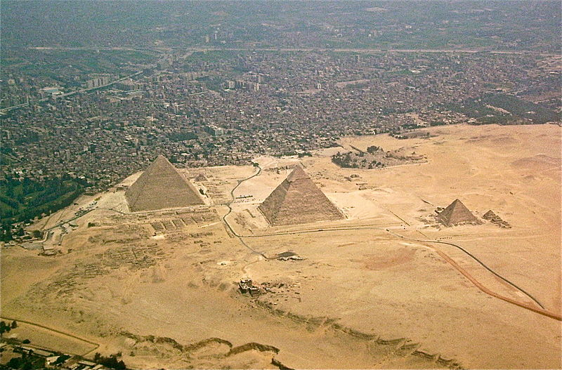 An aerial picture of the pyramids showing how close they actually are to the urban area.