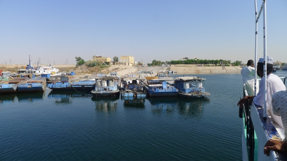 I have spotted our KTMs on the deck of the barge moored up at Aswan port.. what a relief.