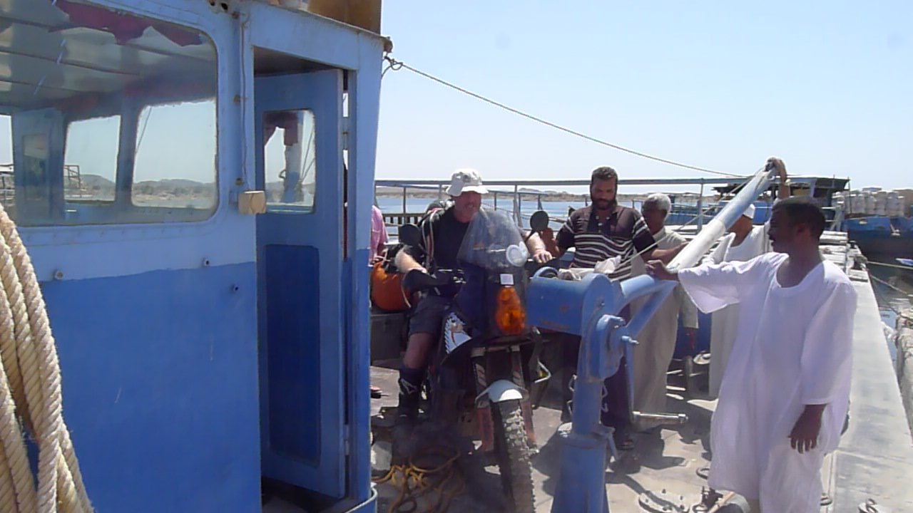Thinking about riding them off the barge onto the jetty, but not doable so in the end five of us literally lifted each bike up and carried it .. with all the kit and full panniers.. easy in the end.