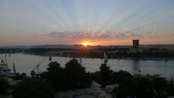 Sunset over the Nile in Aswan, Egypt