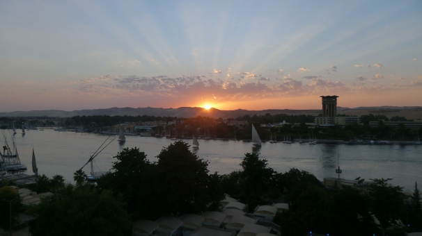Sunset over the Nile in Aswan, Egypt