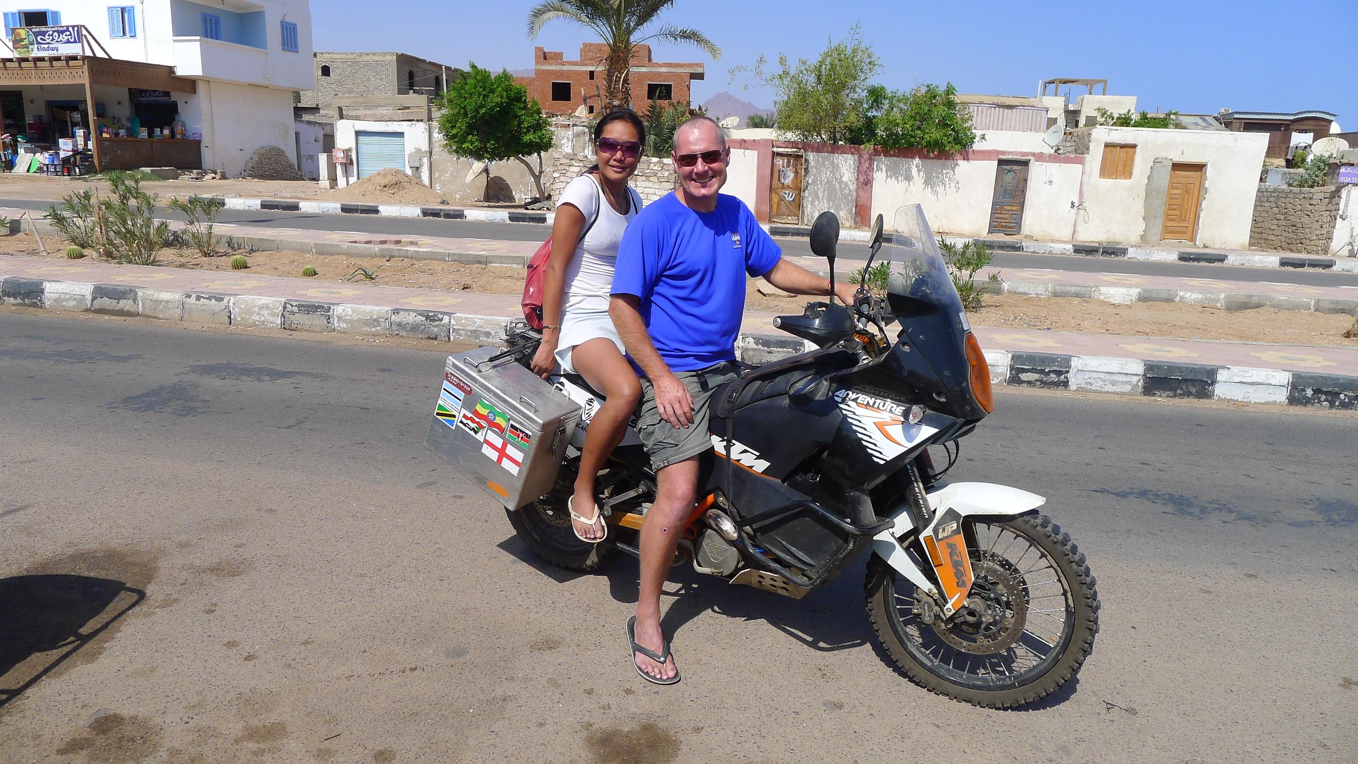 Fanny and I riding around Dahab