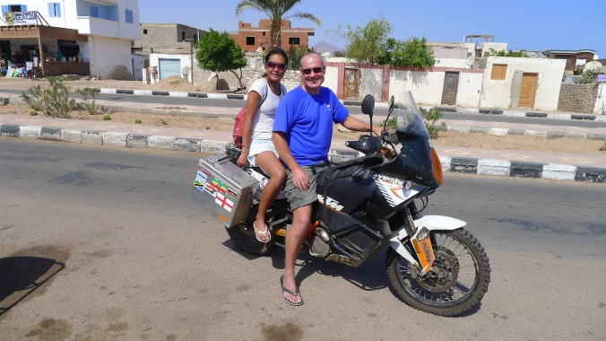 Fanny and I riding around Dahab