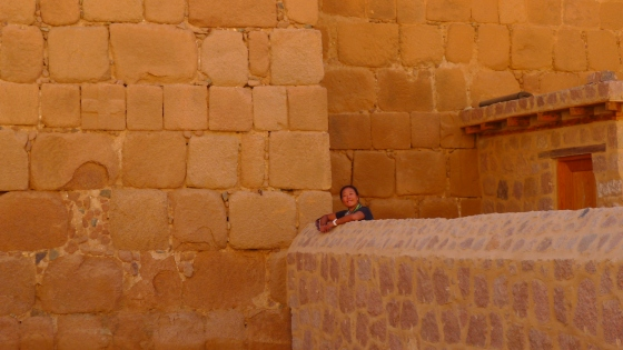 Fanny peaking out of the monastery