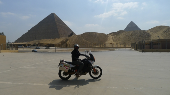 Me and my bike at the pyramids in Giza, Cairo.