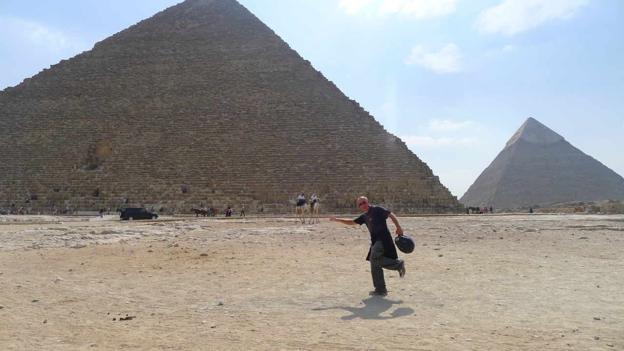 Walk like an Egyptian with a crash helmet.