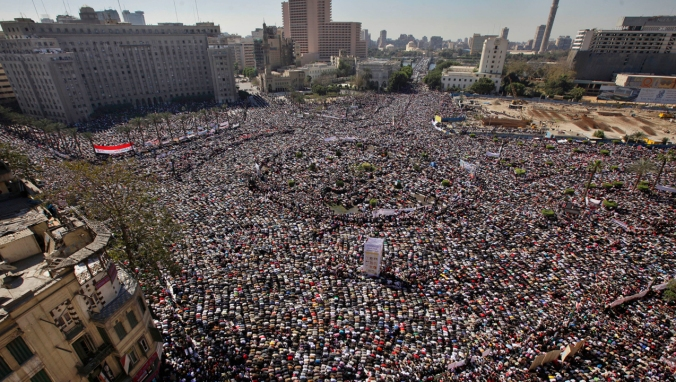 Tahrir Square with the building we have to get our visas from at the top left hand side