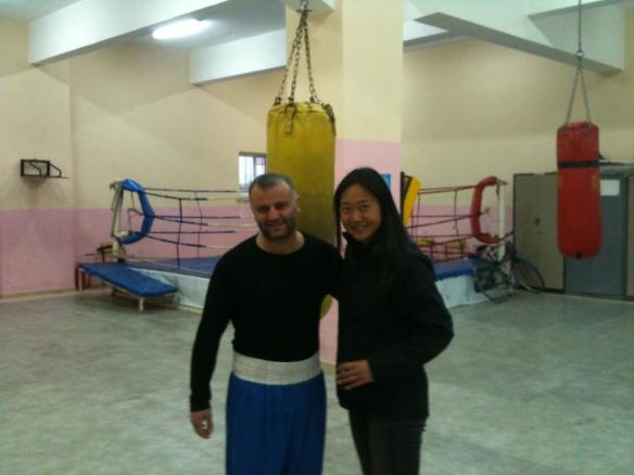 We love Turkey ... such a beautiful country and lovely people. Fanny being given the tour of a local boxing gym in Mersin