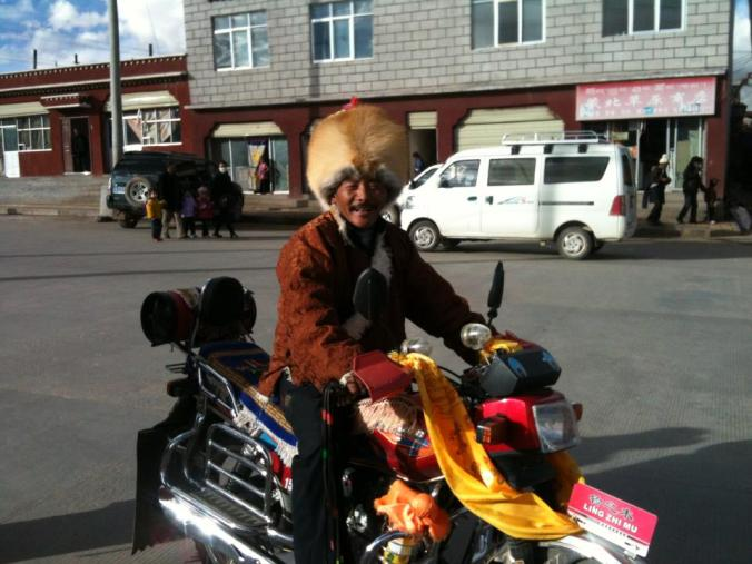 Local bikers ... lovely foxy hat.
