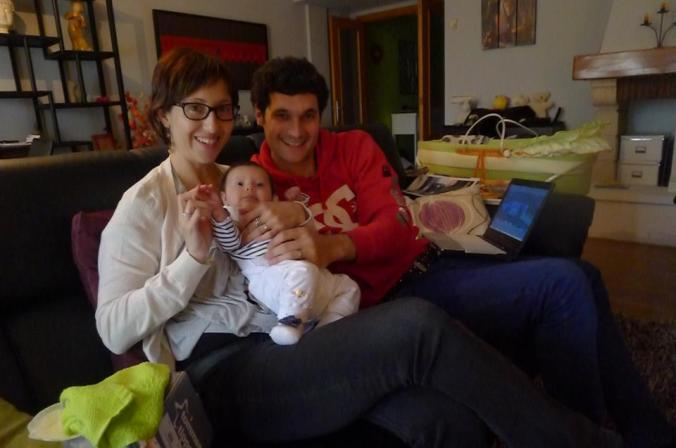 Nuria and Joken from Basque Country and their baby.
