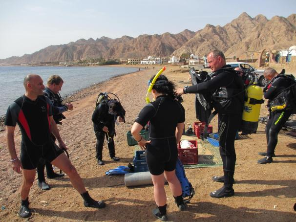 Our friends, Andrea and Gary who came out to Dahab to stay with us. John and Tony (Dive masters) in the background