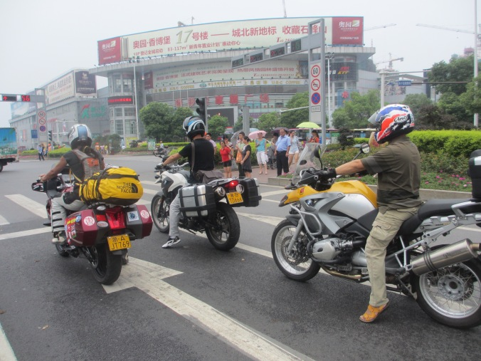 Being escorted out of Changqing city by BMW club members