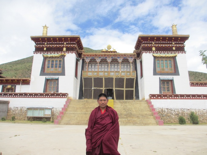 Our very good friend , Si Ba outside his monastery. We later met him again in Lhasa