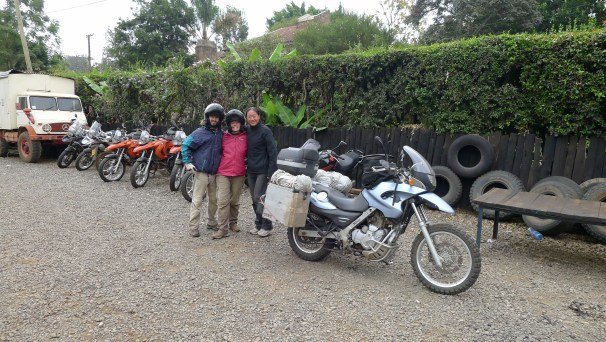 Fanny with Noa and Jose (RTW BMW riders from Spain) with whom we had many adventures in the Masai Mara, Kenya. Pictured here at Jungle Junction in Nairobi.