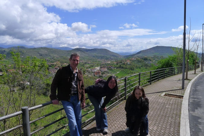 Nick, Paola, and Fanny out walking in Paola's home town of Ferrentino, Italy