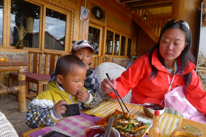 A little friend in Shangri La (Yunnan)  helping himself to Fanny's dinner