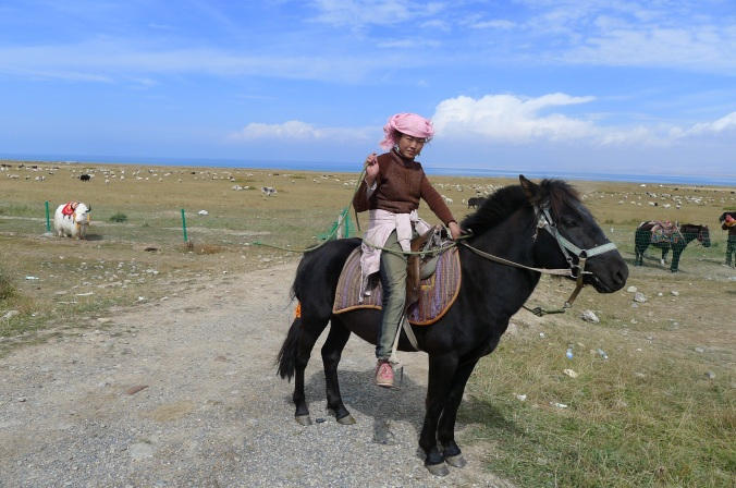 Tibetan girl on a pony