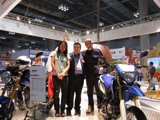 Gary from Yingang motorcycles.  If you ever want to ride around the world on a shoestring and get 1000 kilometers on a tank and take one spanner with you then the Yingang 125 is the way to go.