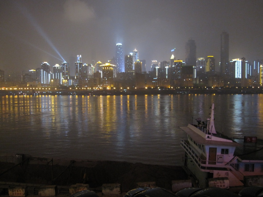 Strolling along Chongqing Bund at night
