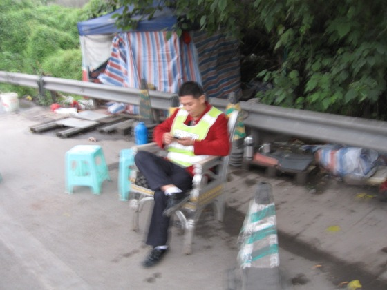 A fussy unfocused picture of one of the officials. My hands were shaking with rage.