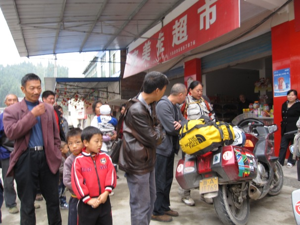 We stopped to have some noodles and it seemed the whole village came out to see us. It caused a lot of excitement