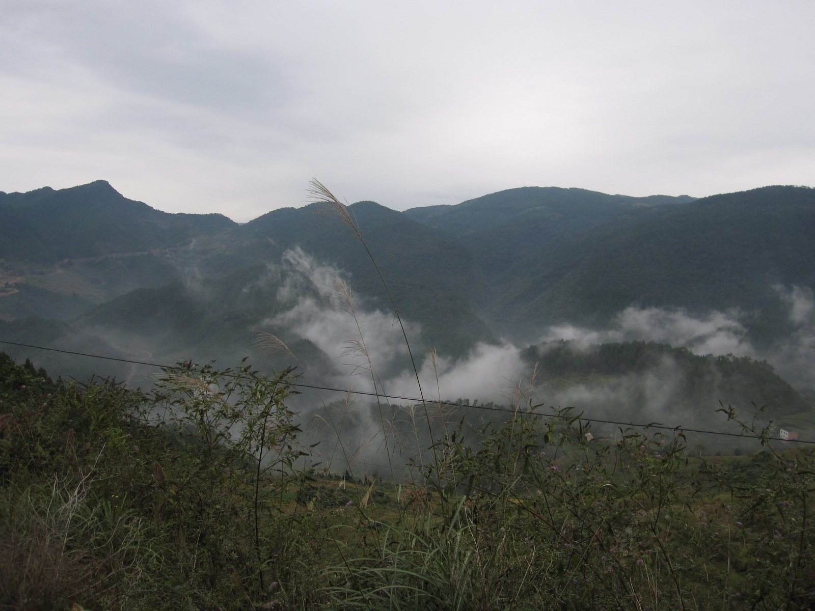 Climbing back up into the mountains towards border with Hubei.