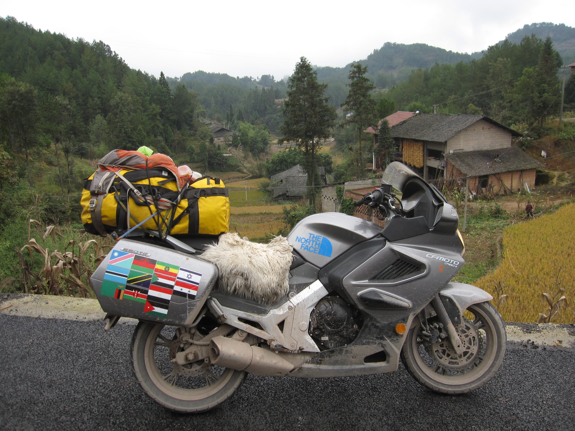 A portrait of my super Chinese motorcycle in the heart of rural China.