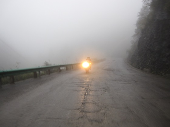 Our last mountain pass before we ride into Hubei. Misty up at about 2000 meters and we encountered very few people.