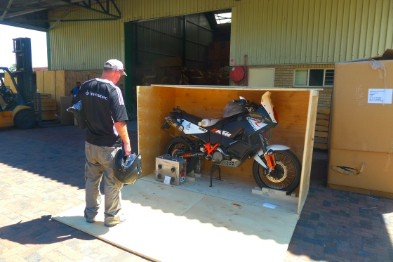 KTMs arriving back in Cape Town --- where we started 18 months previously