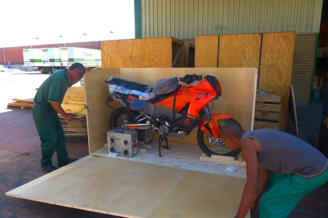 Fanny's bike being unpacked